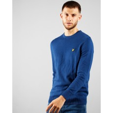 Lyle & Scott  Crew Neck Cotton Merino Indigo Jumper