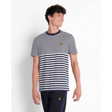 Lyle & Scott  Multi Stripe Navy and Vanilla T-shirt