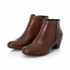 Rieker Side Zip Brown Small Heeled Ankle Boot