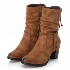 Rieker Brown Small Heeled Mid Length Boot