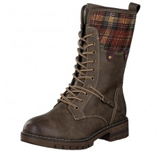 Rieker Long Lace Up Brown and Grey Boot