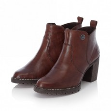 Rieker Chestnut Brown Heeled Riding Style Slip On Ankle Boot