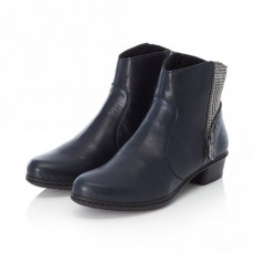Rieker Navy and Grey Side Zip Ankle Boot