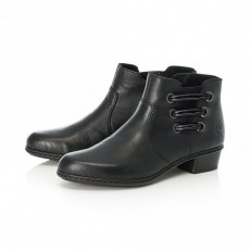 Rieker Black Side Strap Small Heeled Ankle Boot