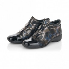 Rieker Black and Blue Patterned Boot