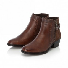 Rieker Brown Small Heeled Ankle Boot