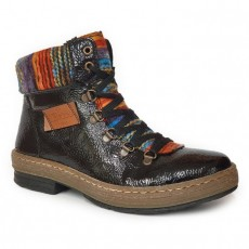 Rieker Black, Brown and Orange Multi Coloured Lace Up Boot