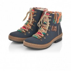 Rieker Brown Multi Coloured Lace Up Boot