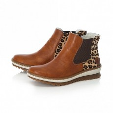 Rieker Leopard Print, Brown and Natural Horse Riding Style Slip On Ankle Boot