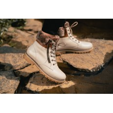 Remonte Lace Up Cream Boot with Fur