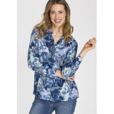 Olsen Long Sleeve Woven Smokey Blue Blouse