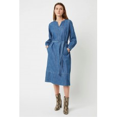 Great Plains Malvern Denim LS Belted Dress Vintage Wash