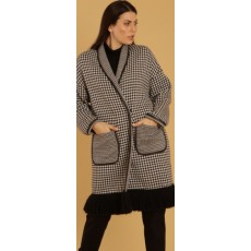 Latte Monochrome Jacquard Knit 3/4 Coat with Fronge Details and Vegan Leather Piping