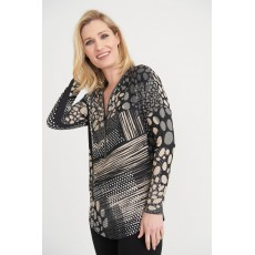 Joseph Ribkoff Womens Top Black/Beige