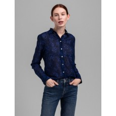 Gant Fall Flower Cot Blue Silk Shirt