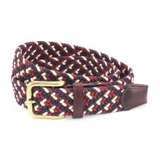 Belt Multi Burgundy/Navy/Ecru S