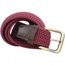 Elastic Web Leather Belt 35mm Burgundy M