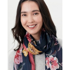 Joules Karin Scarf Navy & Pink Floral