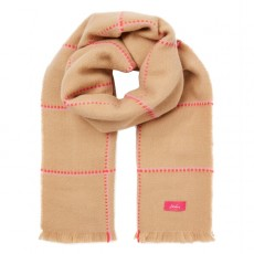 Joules Stamford Scarf Camel Pink Check