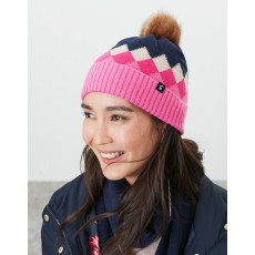 Joules Rothley Hat Navy & Pink Argylle