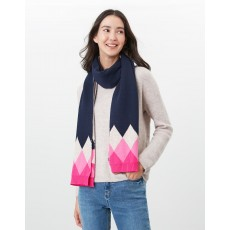 Joules Rothley Scarf Navy & Pink Argylle
