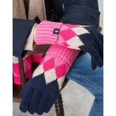 Joules Rothley Gloves Navy & pink Argylle