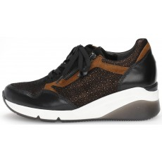 Gabor Black, Brown and White Wedged Heel Trainer