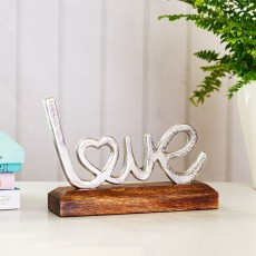 Silver Metal Love on Wooden Base