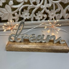 Silver Metal Dream On Wooden Base