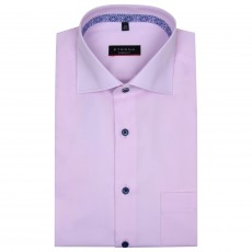 Eterna Cover Shirt with Trim Pink/ Blue Buttons