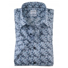 Olymp Casual Short Sleeve Print Shirt Navy/Blue/Pink