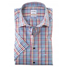 Olymp Short Sleeve Casual Check Shirt White