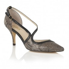 Lotus Bronze Snake Print Shoes