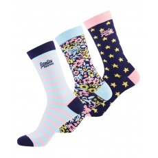 STAR SOCK TRIPLE PACK BLUE/PINK/NAVY