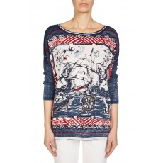 Oui Pullover Dark Blue/Red
