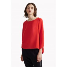 Great Plains Olivia Crepe Fluted Sleeve Blouse Magyar Red