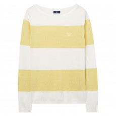 Gant Block Stripe Pique Boat Neck Yellow
