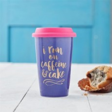 I Run On Caffeine & Cake Ceramic Travel Mug
