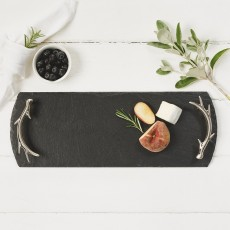 Just Slate Serving Tray Antler Handles Boxed Sml