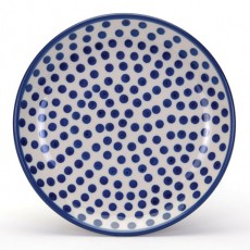 Country Pottery Plate 20cm Small Blue Dots