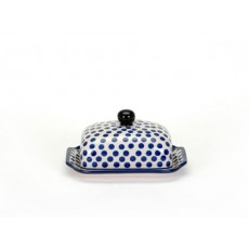 Country Pottery Small Blue Dot Butter Dish