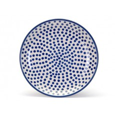 Country Pottery Plate 25cm Sml Blue Dot