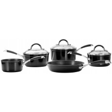 Stellar 3000 5Pc Saucepan Set Black