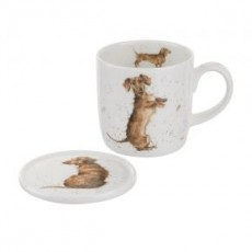 Wrendale Hello Sausage Mug & Coaster Set