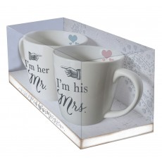 Wedding Twin Mug Set Boxed Mr & Mrs