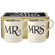 Emma Bridgewater Black Toast Mug Mr+Mrs Set 2 1/2pt