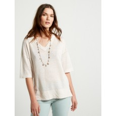 White Stuff Island V Neck Knit Top Ecru