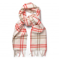 Gant O2. Twill Checked Lambswool Scarf Cream