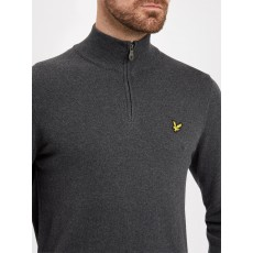 Lyle & Scott 1/4 Zip Cotton Merino Jumper Charcoal Marl