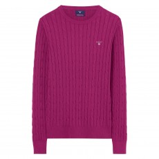 Gant Stretch Cotton Cable Crew Raspberry Purple